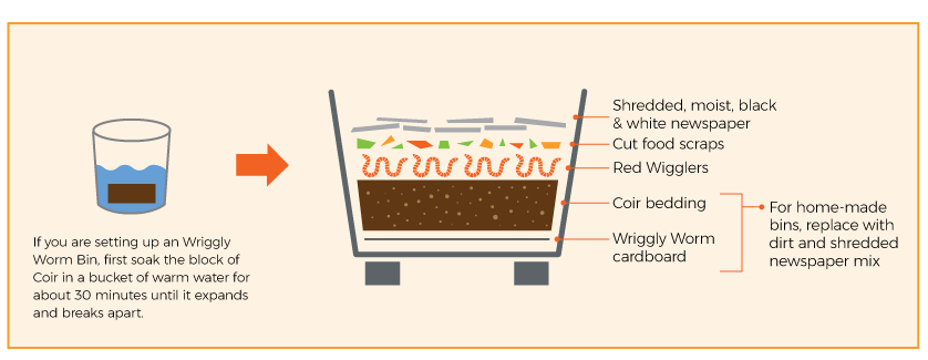 preparing compost bin graphic