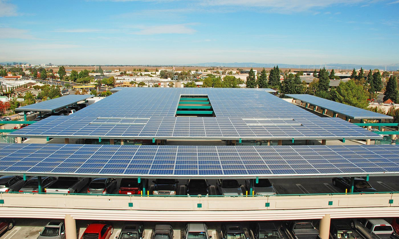 Parking Structure with solar panel installation